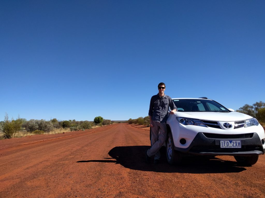 Josh and car, solo trip to Australia