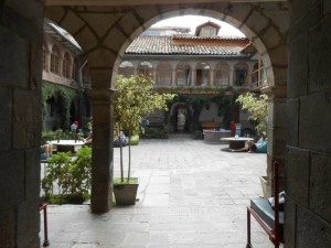 The courtyard of the Pariwana Hostel in Cuzco.